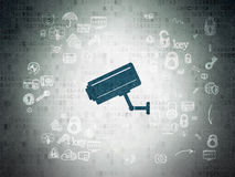 Privacy concept: Cctv Camera on Digital Paper Stock Images