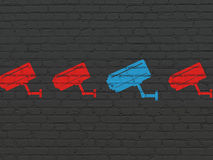 Privacy concept: cctv camera icon on wall Royalty Free Stock Image