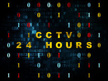 Privacy concept: CCTV 24 hours on Digital. Privacy concept: Pixelated yellow text CCTV 24 hours on Digital background with Binary Code, 3d render royalty free stock image