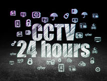 Privacy concept: CCTV 24 hours in grunge dark room. Privacy concept: Glowing text CCTV 24 hours,  Hand Drawn Security Icons in grunge dark room with Dirty Floor Royalty Free Stock Image