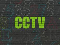 Privacy concept: CCTV on wall background. Privacy concept: Painted green text CCTV on Black Brick wall background with Hexadecimal Code royalty free illustration