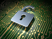 Privacy concept: circuit board with Opened Padlock Stock Image