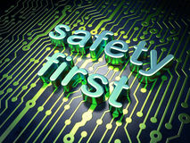 Privacy concept: circuit board Safety First. Privacy concept: circuit board with word Safety First, 3d render Stock Photography