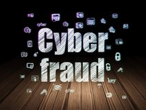 Privacy concept: Cyber Fraud in grunge dark room Stock Images