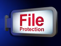 Privacy concept: File Protection on billboard background. Privacy concept: File Protection on advertising billboard background, 3D rendering Stock Photography