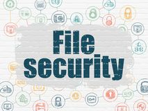 Privacy concept: File Security on wall background. Privacy concept: Painted blue text File Security on White Brick wall background with Scheme Of Hand Drawn Stock Photo