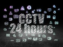 Privacy concept: CCTV 24 hours in grunge dark room Stock Images