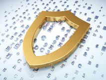 Privacy concept: Golden Contoured Shield on Stock Images