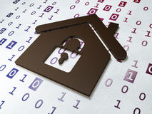 Privacy concept: Home on Binary Code background. 3d render royalty free stock images