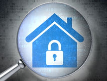 Privacy concept: Home with optical glass on. Privacy concept: magnifying optical glass with Home icon on digital background, 3d render Stock Images