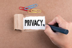 Privacy concept. Inscription in window of  torn paper Royalty Free Stock Image