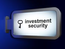 Privacy concept: Investment Security and Key on billboard background. Privacy concept: Investment Security and Key on advertising billboard background, 3D Stock Photos