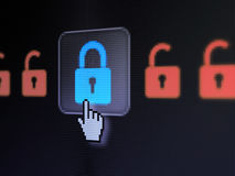 Privacy concept: Locks on digital computer screen Royalty Free Stock Images