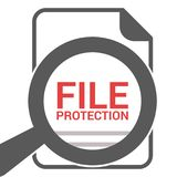Privacy Concept: Magnifying Optical Glass With Words File Protection. Vector illustration Stock Image