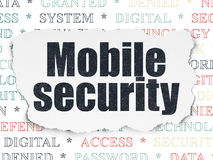 Privacy concept: Mobile Security on Torn Paper Stock Image