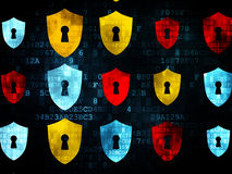 Privacy concept: multicolor Shield With Keyhole royalty free stock photography