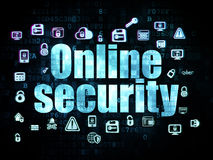 Privacy concept: Online Security on Digital. Privacy concept: Pixelated blue text Online Security on Digital background with  Hand Drawn Security Icons, 3d Royalty Free Stock Photography