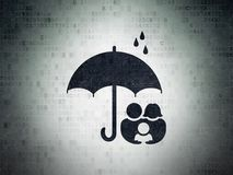 Privacy concept: Family And Umbrella on Digital Data Paper background. Privacy concept: Painted black Family And Umbrella icon on Digital Data Paper background Stock Photography