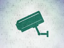 Privacy concept: Cctv Camera on Digital Data Paper background Stock Image