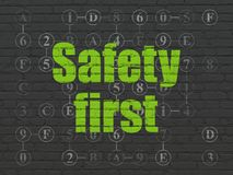 Privacy concept: Safety First on wall background royalty free stock photo