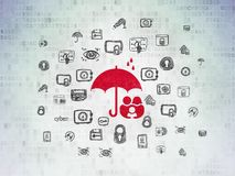 Privacy concept: Family And Umbrella on Digital Data Paper background. Privacy concept: Painted red Family And Umbrella icon on Digital Data Paper background Royalty Free Stock Image