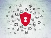 Privacy concept: Shield With Keyhole on Digital Data Paper background. Privacy concept: Painted red Shield With Keyhole icon on Digital Data Paper background Royalty Free Stock Photography