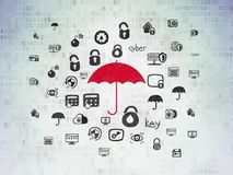 Privacy concept: Umbrella on Digital Data Paper background Royalty Free Stock Image