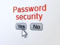 Privacy concept: Password Security on digital. Privacy concept: buttons yes and no with pixelated word Password Security and Arrow cursor on digital computer Royalty Free Stock Photography