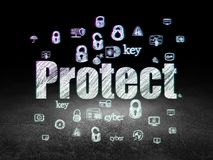 Privacy concept: Protect in grunge dark room Stock Photos