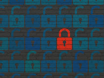 Privacy concept: red closed padlock icon on wall Stock Photography
