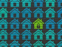 Privacy concept: home icon on wall background Stock Images