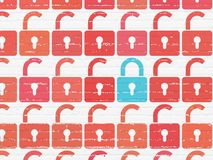 Privacy concept: closed padlock icon on wall background Royalty Free Stock Images