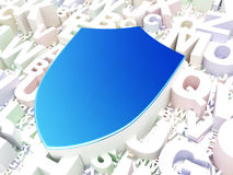 Privacy concept: Shield on alphabet background Stock Photo