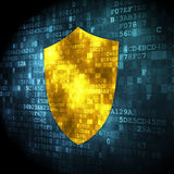 Privacy concept: Shield on digital background. Privacy concept: pixelated Shield icon on digital background, 3d render Stock Photos