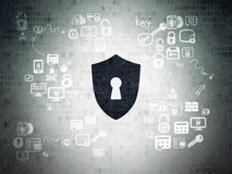Privacy concept: Shield With Keyhole on Digital Stock Photo