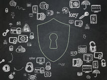 Privacy concept: Shield With Keyhole on School Royalty Free Stock Images