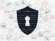 Privacy concept: Shield With Keyhole on wall Stock Photography