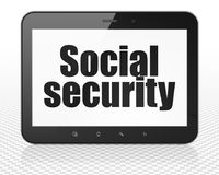 Privacy concept: Tablet Pc Computer with Social Security on display Royalty Free Stock Photo