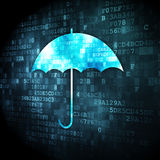 Privacy concept: Umbrella on digital background Royalty Free Stock Image