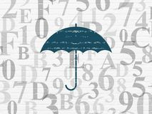 Privacy concept: Umbrella on wall background. Privacy concept: Painted blue Umbrella icon on White Brick wall background with  Hexadecimal Code Royalty Free Stock Images