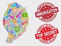Composition of Key Corvo Island Map and Scratched Immunization Stamp. Privacy Corvo Island map and seals. Red round Top Secret and Immunization grunge seal stock illustration