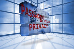 Privacy graphic on abstract screen Royalty Free Stock Photos