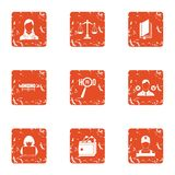 Privacy icons set, grunge style. Privacy icons set. Grunge set of 9 privacy vector icons for web isolated on white background Royalty Free Stock Photography