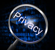 Privacy Magnifier Means Confidential Restricted And Search Stock Image