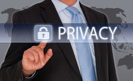 Privacy - Manager met touchscreen stock fotografie