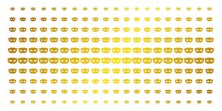 Privacy Mask Golden Halftone Array. Privacy mask icon gold colored halftone pattern. Vector privacy mask pictograms are organized into halftone grid with vector illustration