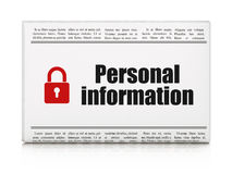 Privacy news concept: newspaper with Personal. Privacy news concept: newspaper headline Personal Information and Closed Padlock icon on White background, 3d Royalty Free Stock Images