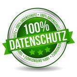 Privacy Policy Banner Badge - German-Translation: 100% Datenschutz.  stock illustration