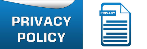 Privacy Policy Blue White Horizontal. Privacy Policy banner with text and related icon Royalty Free Stock Images