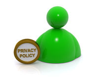 Privacy policy concept. Green ball style figure with circular privacy policy sign isolated on white background Royalty Free Stock Image